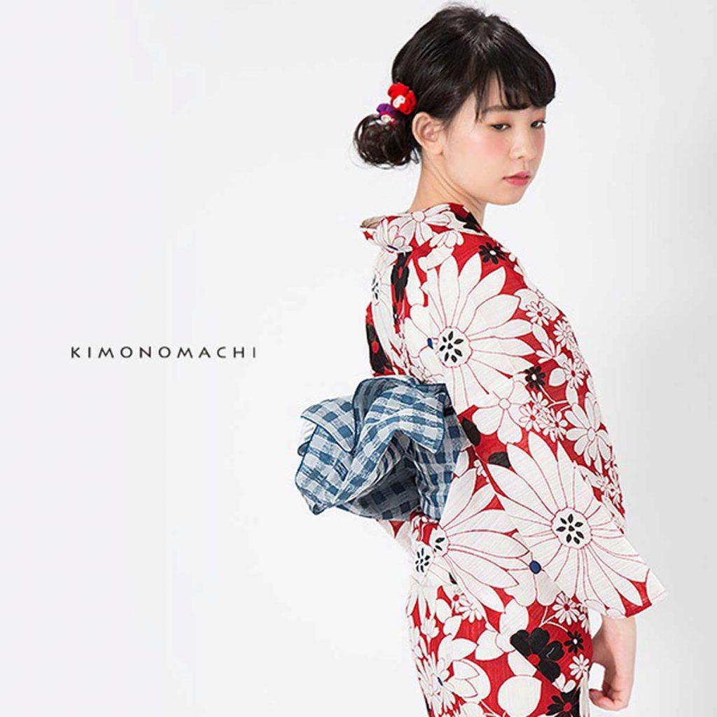 京都きもの町オリジナル浴衣単品「赤マーガレット」 価格:6,048円(税込)