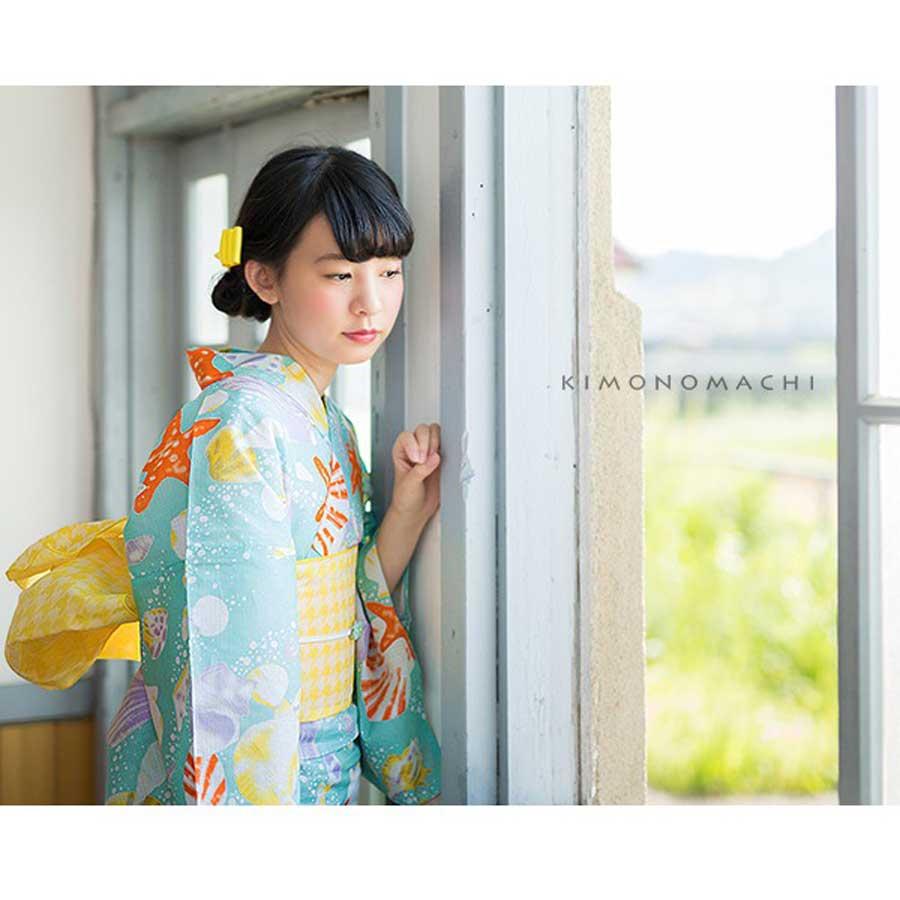 京都きもの町オリジナル浴衣帯単品「千鳥 黄」兵児帯 価格:3,780円(税込)