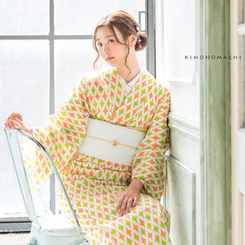 【夏着物】グリーン×オレンジ 七宝