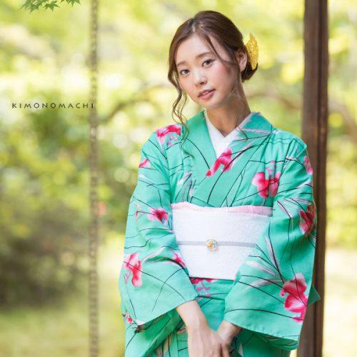 【夏着物】青緑色 百合