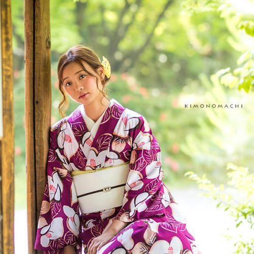 【夏着物】深紫色 椿