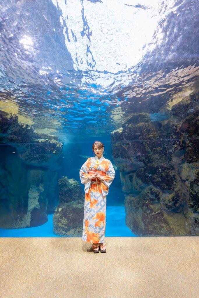 京都水族館 ペンギンの水槽 夢館浴衣レンタル