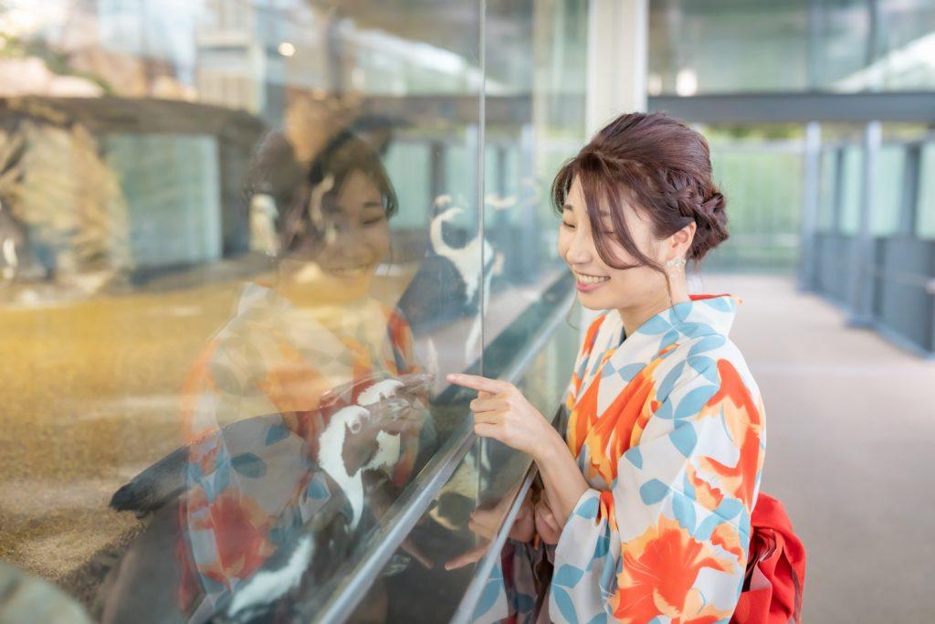 京都水族館で浴衣でデート ペンギンの水槽 夢館浴衣レンタル