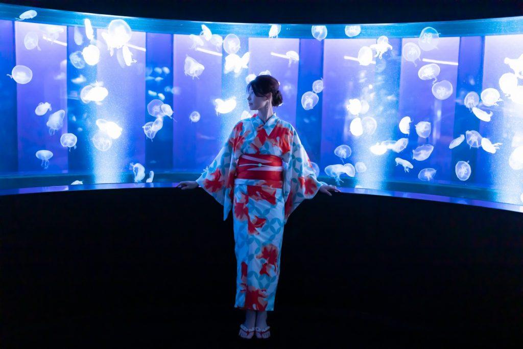 京都水族館 クラゲワンダー 夢館浴衣レンタル