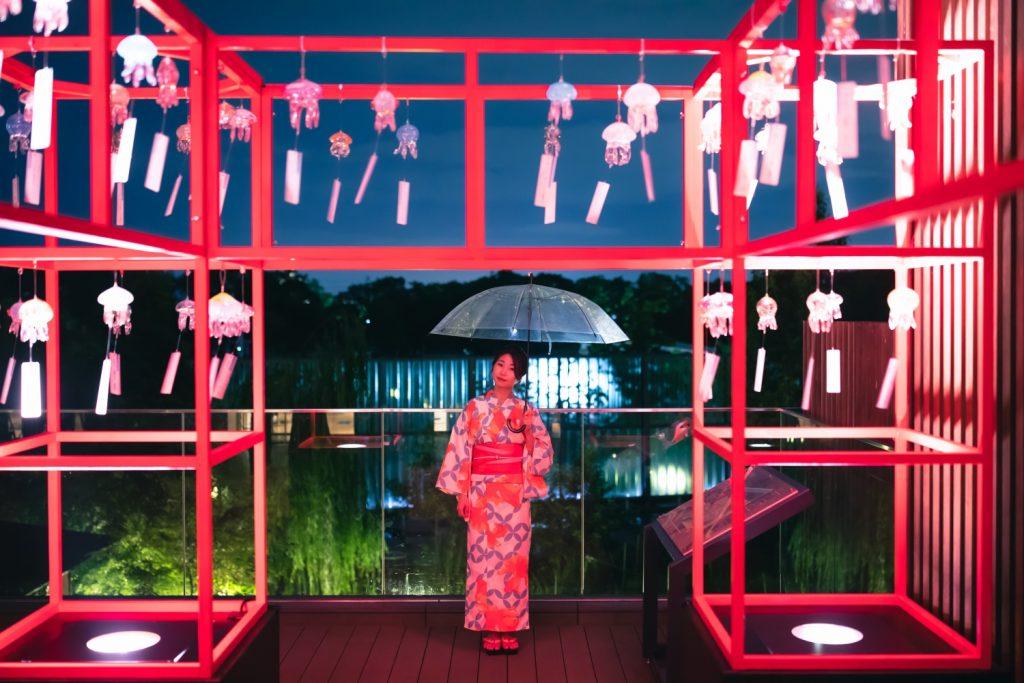京都水族館 くらげと風鈴 夜のデート 夢館浴衣レンタル
